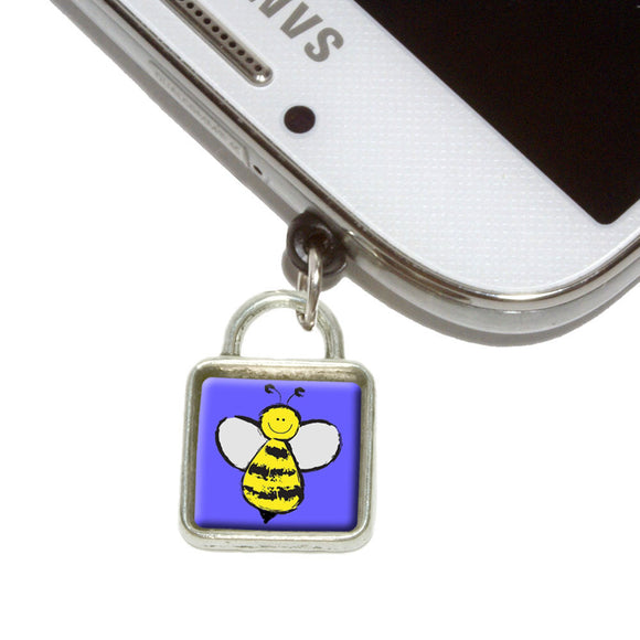 Busy As A Bee Mobile Phone Jack Square Charm Universal Fits iPhone Galaxy HTC