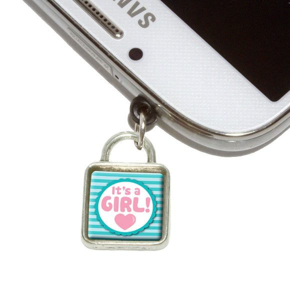 It's A Girl Baby Mobile Phone Jack Square Charm Universal Fits iPhone Galaxy HTC
