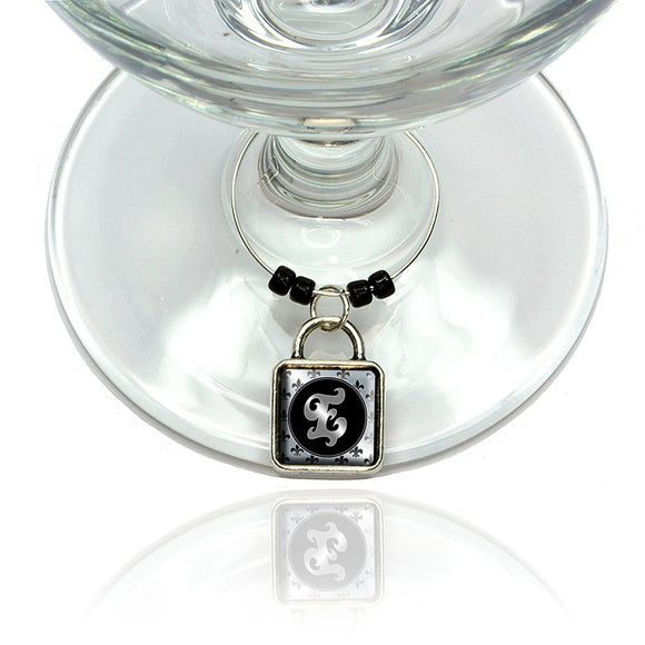 Letter E on Fleur De Lis Pattern Wine Glass Drink Marker Charm Ring