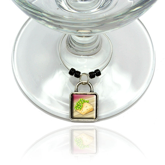 Cheese and Grapes Wine Glass Drink Marker Charm Ring