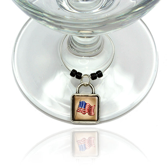 Vintage American Flag Wine Glass Drink Marker Charm Ring