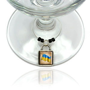 Vintage Ukrainian Flag Ukraine Wine Glass Drink Marker Charm Ring