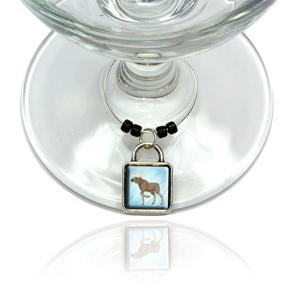 Moose in Pastel Wine Glass Drink Marker Charm Ring