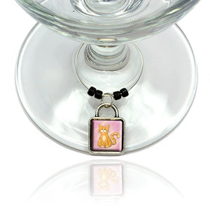 Orange Cat in Pastel Wine Glass Drink Marker Charm Ring