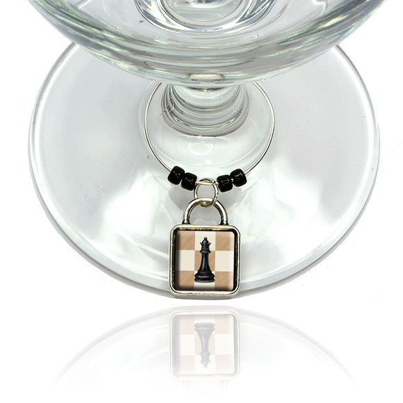 Black Queen Chess Set Wine Glass Drink Marker Charm Ring