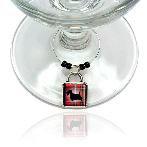 Scottie Dog on Red Plaid Scottish Terrier Wine Glass Drink Marker Charm Ring