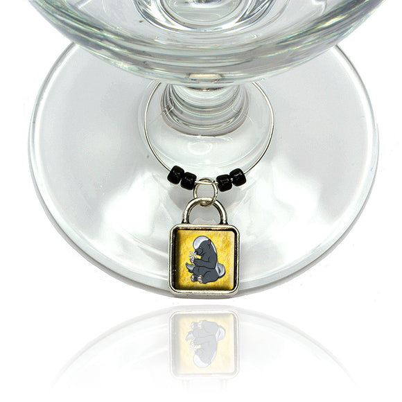 Cute Honey Badger Wine Glass Drink Marker Charm Ring