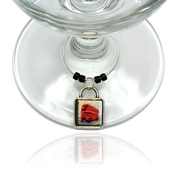 British Red Double Decker Bus Wine Glass Drink Marker Charm Ring