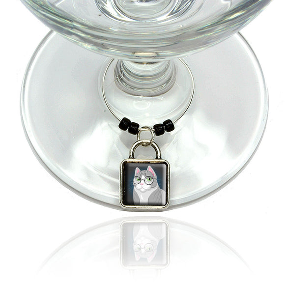 Sir Cat Wearing Glasses Wine Glass Drink Marker Charm Ring