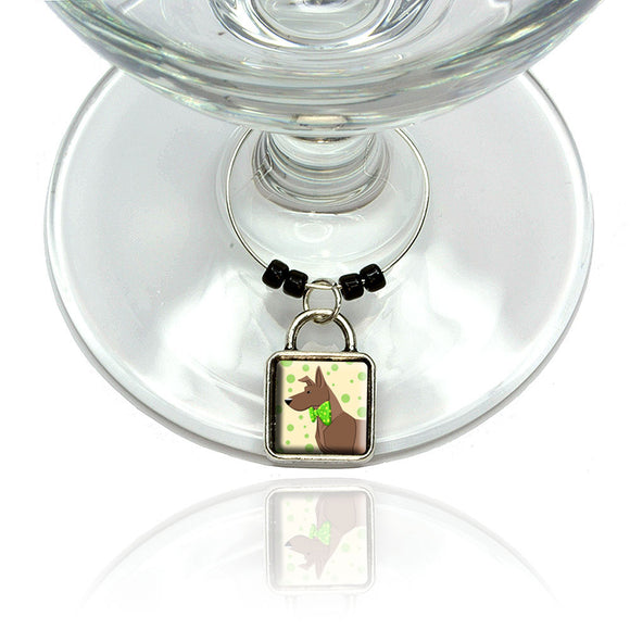Brown Dog Wearing Bowtie Wine Glass Drink Marker Charm Ring