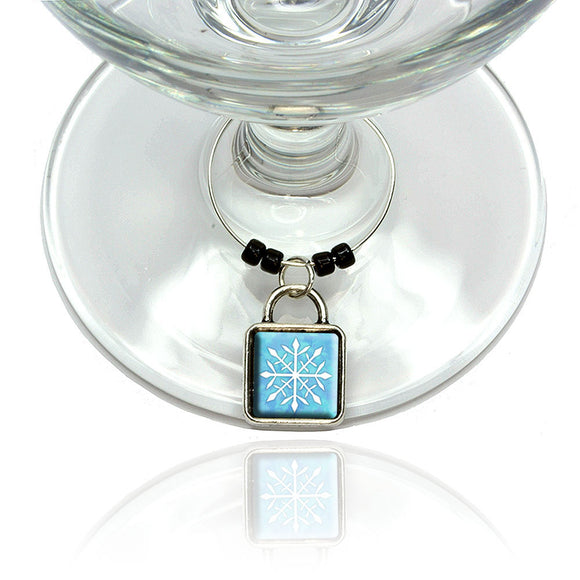 Snowflake Wine Glass Drink Marker Charm Ring