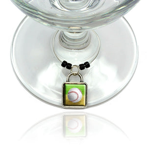 Baseball Wine Glass Drink Marker Charm Ring