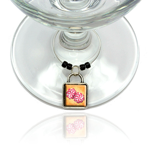 Cheerleading Pom Poms Wine Glass Drink Marker Charm Ring