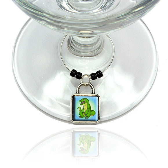 Happy Alligator Wine Glass Drink Marker Charm Ring