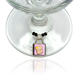 Cute Toast with Butter Wine Glass Drink Marker Charm Ring