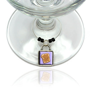 Cute Peanut Butter Toast Wine Glass Drink Marker Charm Ring