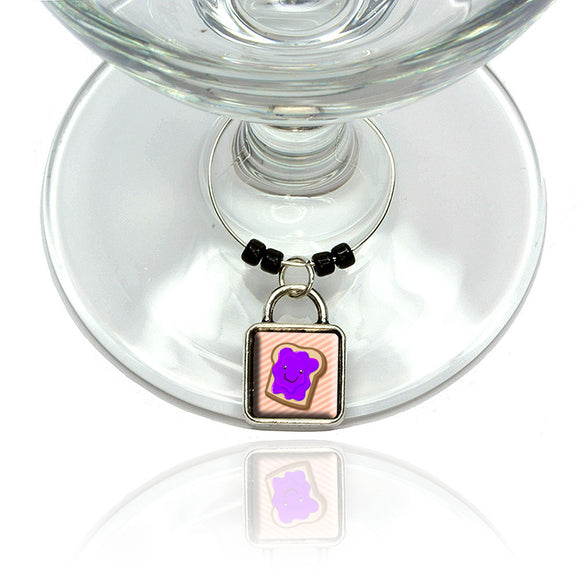 Cute Jelly Toast Wine Glass Drink Marker Charm Ring