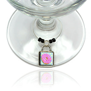 Cute Donut Wine Glass Drink Marker Charm Ring