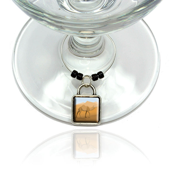 Camel Walking Through Desert Wine Glass Drink Marker Charm Ring