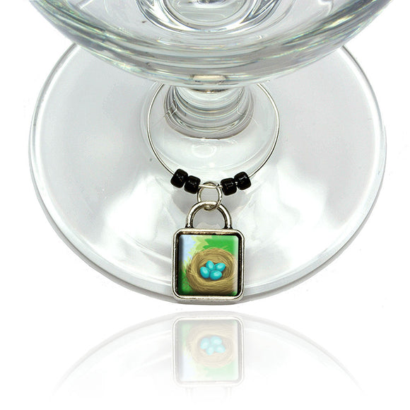 Robin's Nest with Eggs Wine Glass Drink Marker Charm Ring