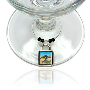 Sea Turtle Wine Glass Drink Marker Charm Ring