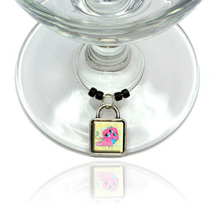Cute Pink Monster Wine Glass Drink Marker Charm Ring