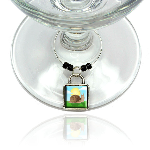 Snail Wine Glass Drink Marker Charm Ring