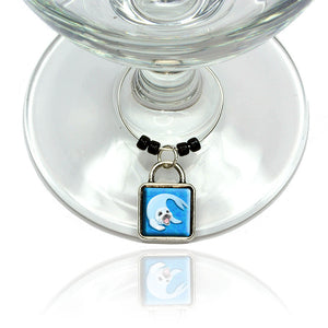 Baby Harp Seal Wine Glass Drink Marker Charm Ring