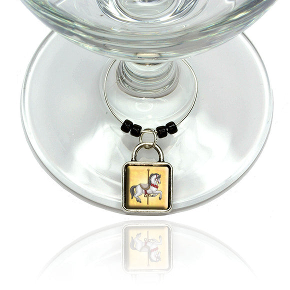 Carousel Horse Wine Glass Drink Marker Charm Ring