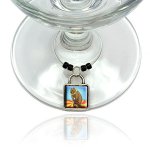 Circus Bear Wine Glass Drink Marker Charm Ring