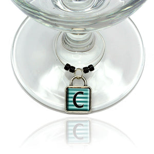 Letter C Initial Black Teal Stripes Wine Glass Drink Marker Charm Ring