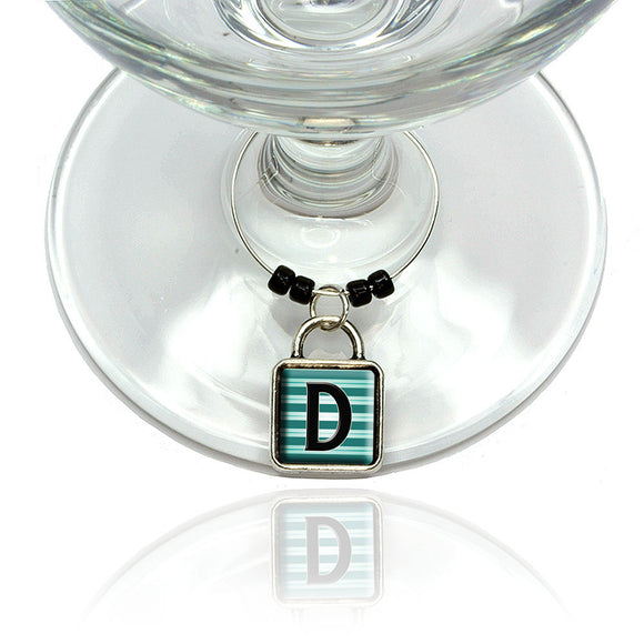 Letter D Initial Black Teal Stripes Wine Glass Drink Marker Charm Ring