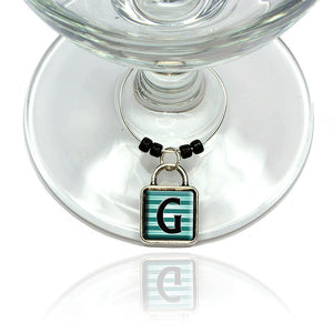 Letter G Initial Black Teal Stripes Wine Glass Drink Marker Charm Ring