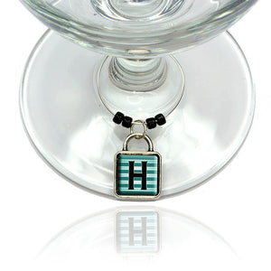 Letter H Initial Black Teal Stripes Wine Glass Drink Marker Charm Ring