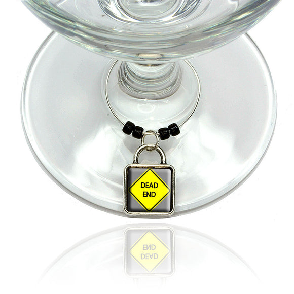 Dead End Basic Yellow Road Sign Wine Glass Drink Marker Charm Ring