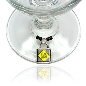 Penguins Crossing Basic Yellow Caution Sign Wine Glass Drink Marker Charm Ring
