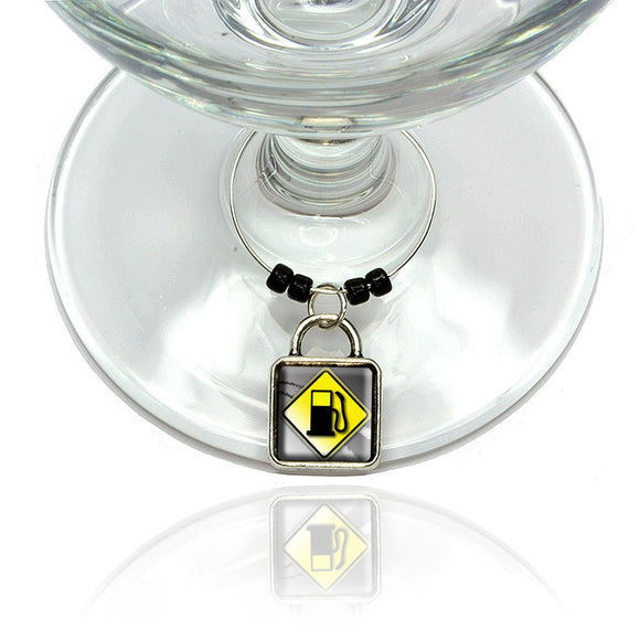 Gas Station Ahead Stylized Yellow Grey Road Sign Wine Glass Drink Marker Charm