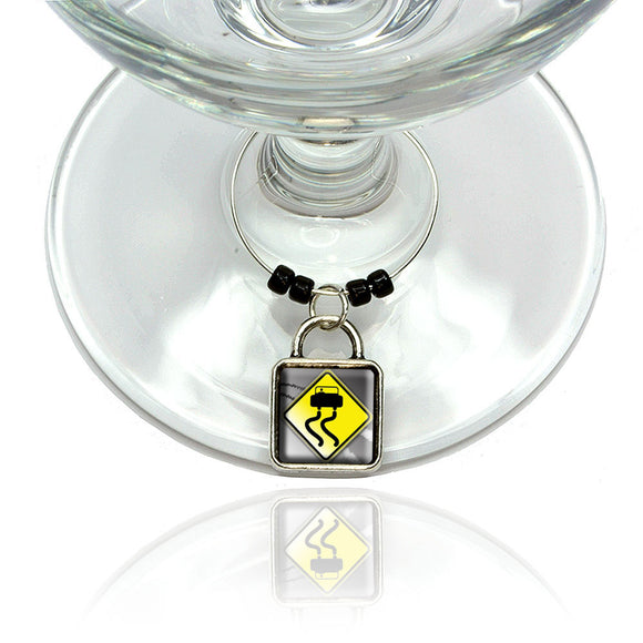 Slippery When Wet Stylized Yellow Caution Sign Wine Glass Drink Marker Charm