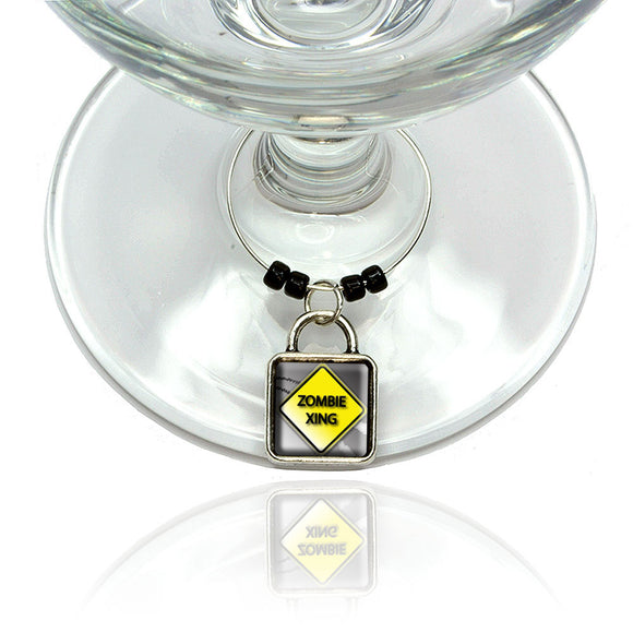 Zombie Xing Crossing Stylized Yellow Caution Sign Wine Glass Drink Marker Charm
