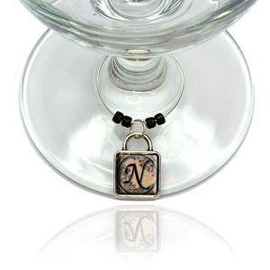 Vintage Letter N Initial Black Tan Wine Glass Drink Marker Charm Ring