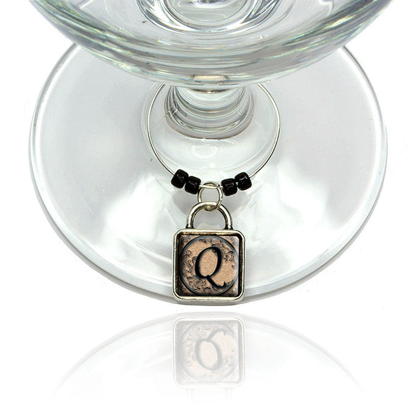 Vintage Letter Q Initial Black Tan Wine Glass Drink Marker Charm Ring
