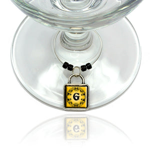 Elegant Letter G Initial Fancy Square Gold Black Wine Glass Drink Marker Charm