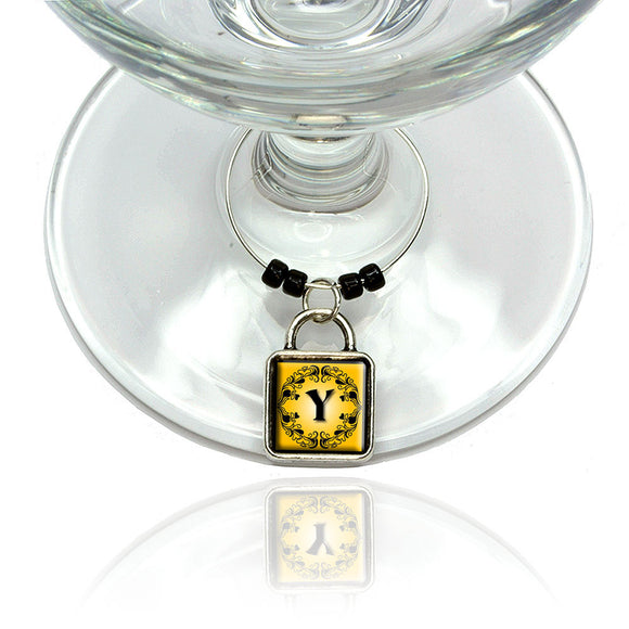 Elegant Letter Y Initial Fancy Square Gold Black Wine Glass Drink Marker Charm
