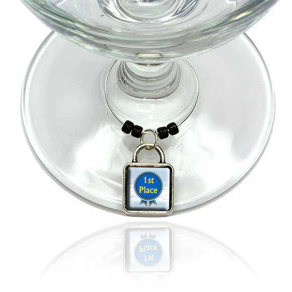 Blue Ribbon First Place Award Wine Glass Drink Marker Charm Ring