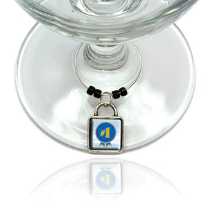 Blue Ribbon Number #1 Award Wine Glass Drink Marker Charm Ring