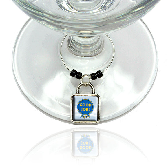 Blue Ribbon Good Job Award Wine Glass Drink Marker Charm Ring