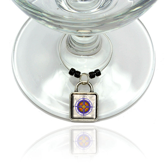 Compass Nautical North South East West Wine Glass Drink Marker Charm Ring