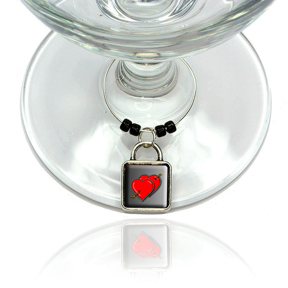 Twin Red Hearts and Arrow Wine Glass Drink Marker Charm Ring