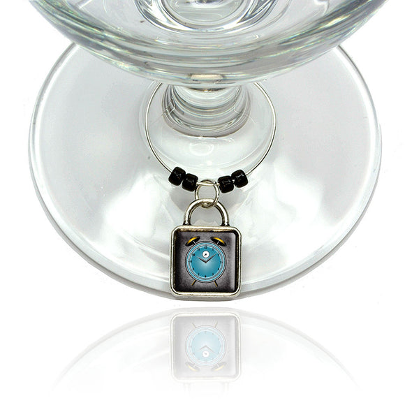 Alarm Clock Old Fashion Teal Gold Wine Glass Drink Marker Charm Ring