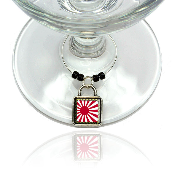 Flag of Japan Sun Rising Wine Glass Drink Marker Charm Ring